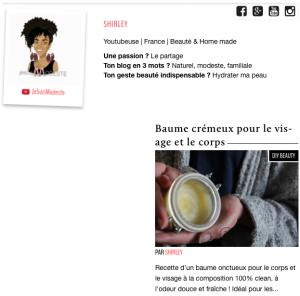L6 mag cosmopolite beauté article crème onctueux baume diy homemade naturaliste bio enfant bébé adulte jesuismodeste