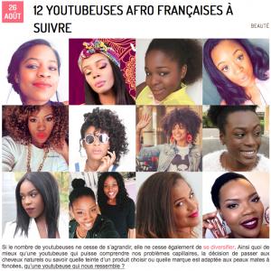 youtubeuses afro à suivre top 12 top 10 Top 5 jesuismodeste aylee métisse peau mate blog